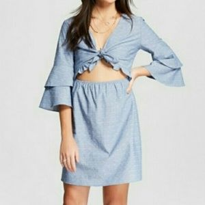 Le Kate Chambray Tie Front Tummy Cutout Dress
